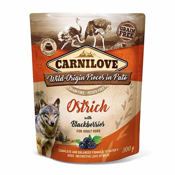 carnilove-φακελακια-υγρη τροφη-σκυλου-στρουθοκαμηλος-ολιστικη-διατροφη